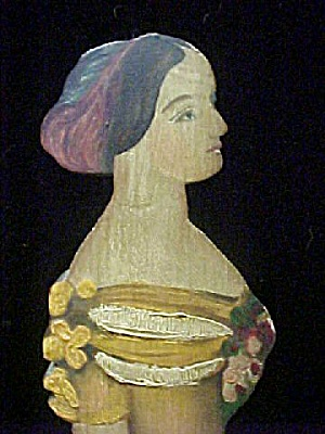 Carved/hand Painted Victorian Woman Figure