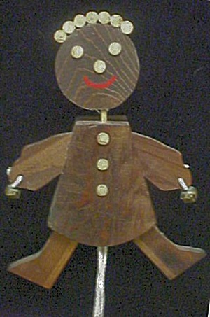 Wood Folk Art Figural Pull Toy