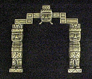 Brass Inca Style Architectural Fragment