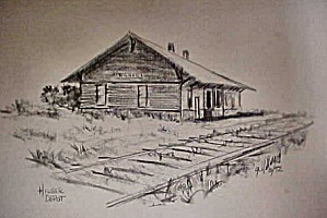 Print Of Early Western Hilger Depot
