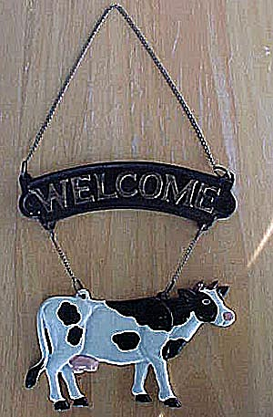 Black & White Cow - Cast Iron Welcome Sign