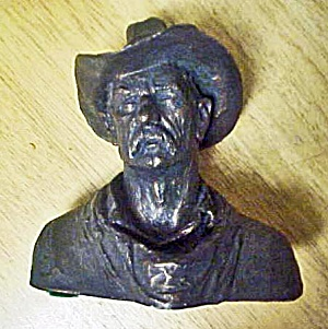 Cowboy Bust Sculpture - Signed Michael Garman