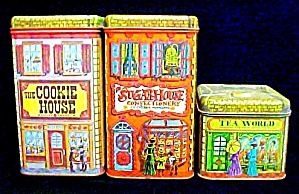 Set Of Three Tins - Cookies, Sugar. & Tea