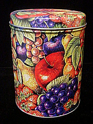 Fruit Design Round Tin Container