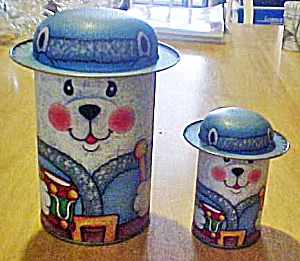 Set Two White Bears Tin Containers