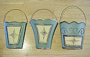 Set Of Three Tin Wall Pockets