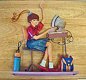 Computer Girl Tin Wall/shelf Art
