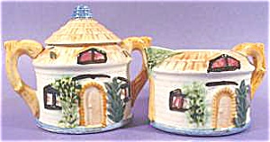 Pottery Cottage Sugar & Creamer - Occupied Japan