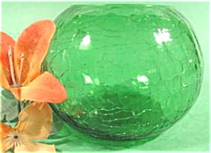 Green Crackle Glass Rose Bowl