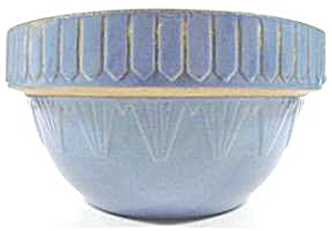 Blue Pottery Mixing Bowl - Pyramid Pattern - Vintage
