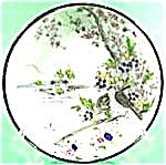 Black Border Oriental Saucer - Floral And Birds