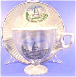 Porcelain Souvenir Cup And Saucer - Capitol Building