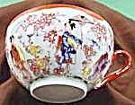 Oriental 3 Geisha Tea Cup - Orange Border