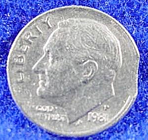 Roosevelt Dime 1981-p Clipped Planchet Coin