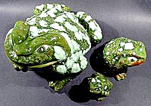 Ceramic Frog Family - Set Of 3 - Great Detail
