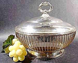 Silver Plated Wire Serving Basket With Lid - Vintage
