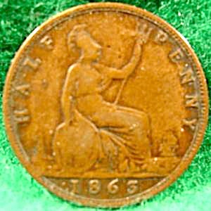 Great Britain Half Penny Cent Coin - 1863