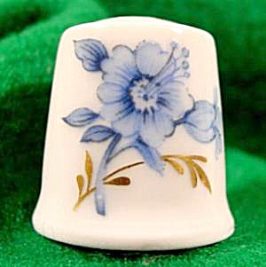 Blue Floral Bone China Thimble - Hutschenreuther
