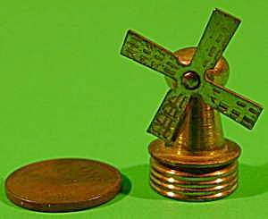 Doll House Miniature Brass Windmill - Vintage