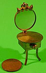 Doll House Miniature Brass Vanity With Mirror - Vintage