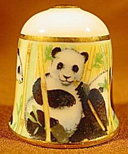 Panda Bear Thimble With Gold Trim - Tcc