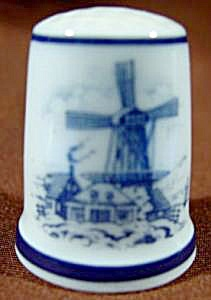 Windmill Scene Thimble Royal Mosa