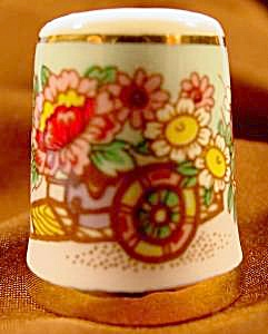 Thimble - Cart Of Flowers - Porcelain - Taiwan