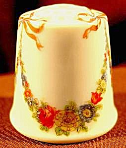 Floral Garlands Porcelain Thimble - W. Germany