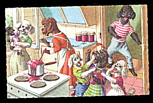 Early Mainzer Dressed Poodles Cooking Postcard