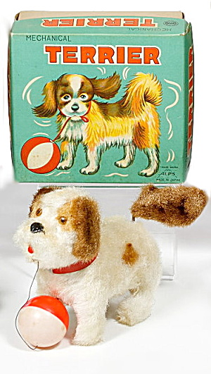 1950s Japan Alps Mechanical Terrier Dog In Box