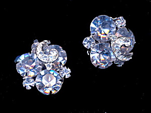 1950's Blue Weiss Clip Earrings