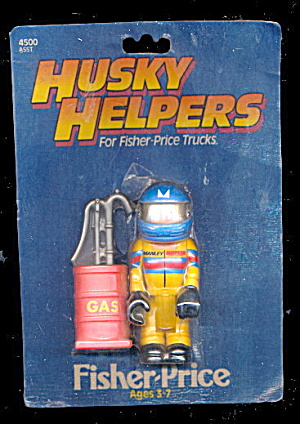 1984 Fisher-price Husky Helpers Race Car Driver On Card