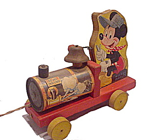 1940s Fisher Price #485 Mickey Mouse Choo Choo Pull Toy