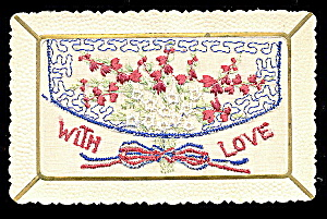 1908 Embroidered Silk With Love Envelope Postcard