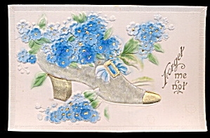 1907 Shredded Silk Slipper Forget Me Not Postcard