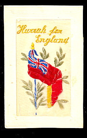 1908 Embroidered Silk Souvenir Of England Flag Postcard