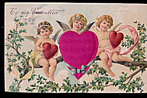 1910 Silk Heart With Cherubs Valentines Day Postcard