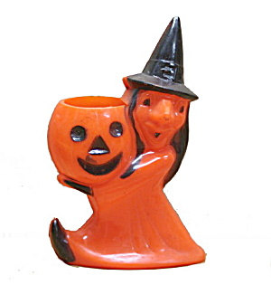 1950s Halloween Hard Plastic Jack-o-lantern With Witch