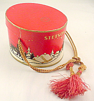 Ca 1920s Stetson Doll Hat Box - Christmas Theme
