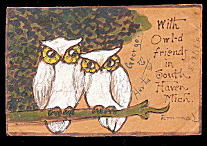 Leather 1906 Owls On Branch Greetings Postcard