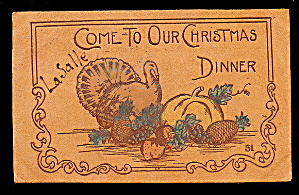 1906 Christmas Dinner Leather Postcard