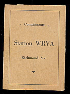 Richmond Va Station Wrva Vintage Needle Book