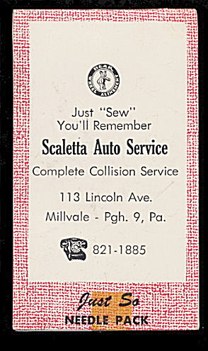 1950s Scaletta Auto Service Pa Needle Book