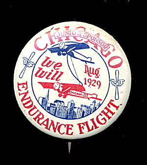 1929 Chicago Endurance Flight Pin Pinback