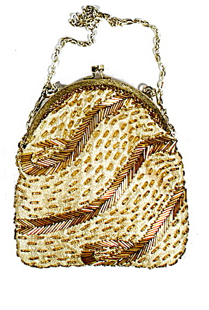 Vintage Fine Arts Bags Gold Glass Beaded Purse