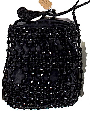 "Vintage Black Glass Bead 9"" Clutch Purse"