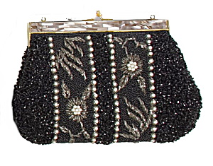 Early Heavy Floral Black Glass Bead Beaded Purse