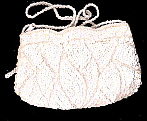 Vintage White Sequin Clutch Handbag/purse