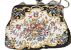 Vintage 1940s Tapestry Floral Purse/bag