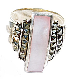 Early .925 Sterling Silver With Pink Stone Ring